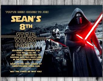 Force Awakens Invitation, Star Wars Invitation, Star Wars Birthday Invitation, Printable New Movie Invite Star Wars Invitations Birthday