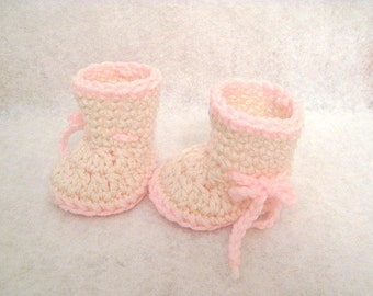 MADE TO ORDER Crochet Newborn Baby Booties Photo Prop Choose Your Colors