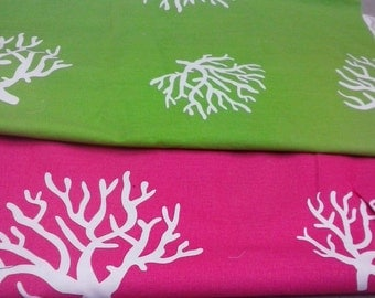 1-3/4 yards Premier Prints Coral chartreuse & candy pink