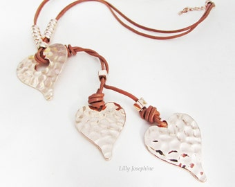 Long Cord and Hammered Copper Heart Necklace, Long Heart Pendant Necklace, Heart Pendant Necklace, Long Cord Necklace, Heart Necklace