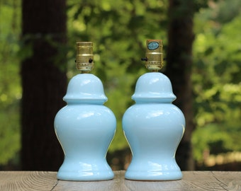 Pair of Small Vintage Light Blue Lamps / Pair Blue Ginger Jar Lamps / Light Blue Table Lamps / Blue Nursery Lamps / Pale Blue Lamps
