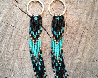 Boho Earrings, Seed Bead Earrings, Hoop Earrings, Long Fringe Seed Bead Earrings, Southwestern Earrings, Native American Inspired Earrings