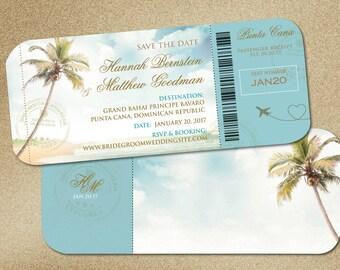 Wedding Boarding Pass Save the Date  | Travel Destination Weddings | Vintage Palms Turquoise Aqua Blue | Monogram Travel Stamps