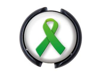 Green Ribbon Stethoscope ID tag, Name Tag, ID Tag - Awareness Ribbon Kidney Disease