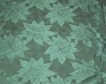 Vintage Forest Green Tablecloth Accented With Poinsettias, 57 x 101, Forest Green Holiday Rectangle Tablecloth,