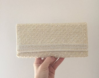Vintage beaded clutch / 1950s