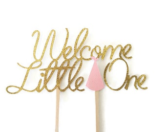 Welcome Little One Cake Topper, Baby Shower Cake Topper for girls