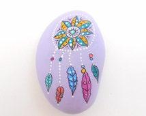 Hand Painted Mandala Dreamcatcher River Stone, Lavender Dreamcatcher River Stone, Lavender River Stone, Garden River Rock - DREAM SCENE