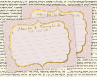 "Mummy or Mommy-to-Be Advice Cards New Mommy, Mum, Parents Baby Shower ""Game""  Printable Cards -JPG files- Print 4 cards on 8.5""x11"" page"