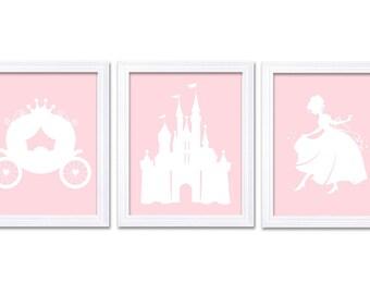 Light Pink White Princess Nursery Art Set of 3 Prints Child Art Kids Room Wall Art Baby Girl Decor Baby Castle Carriage