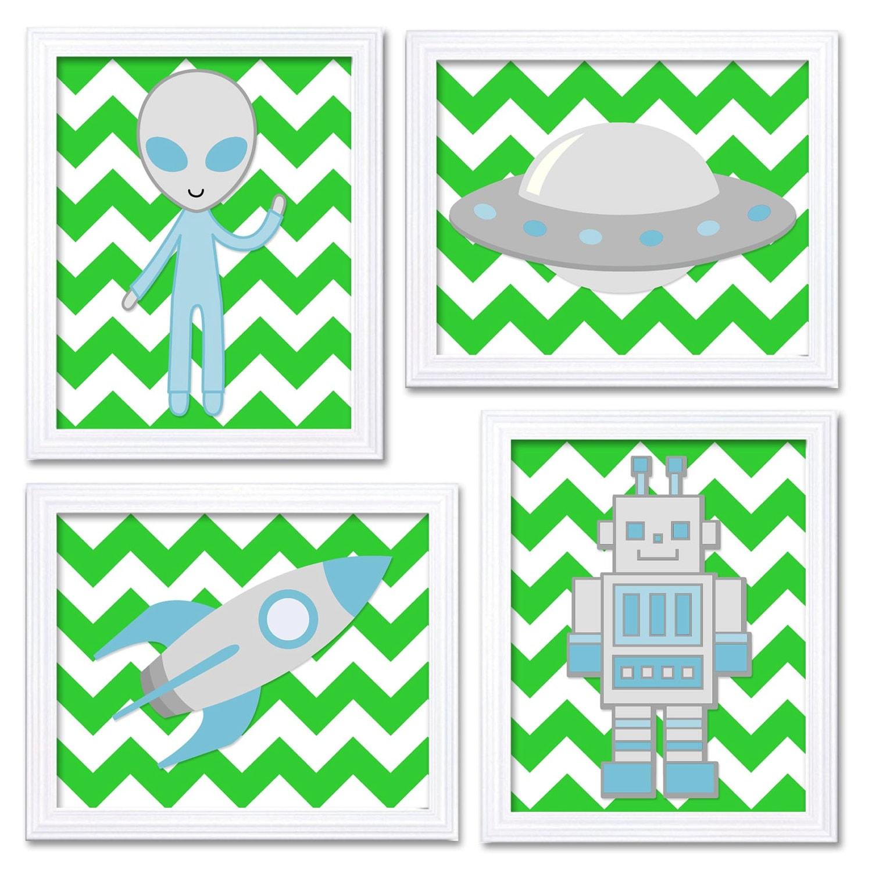 Lime Green Pale Blue Space Nursery Art Prints Set of 4 Alien Spaceship Rocket Robot Boy Kids Room Wa
