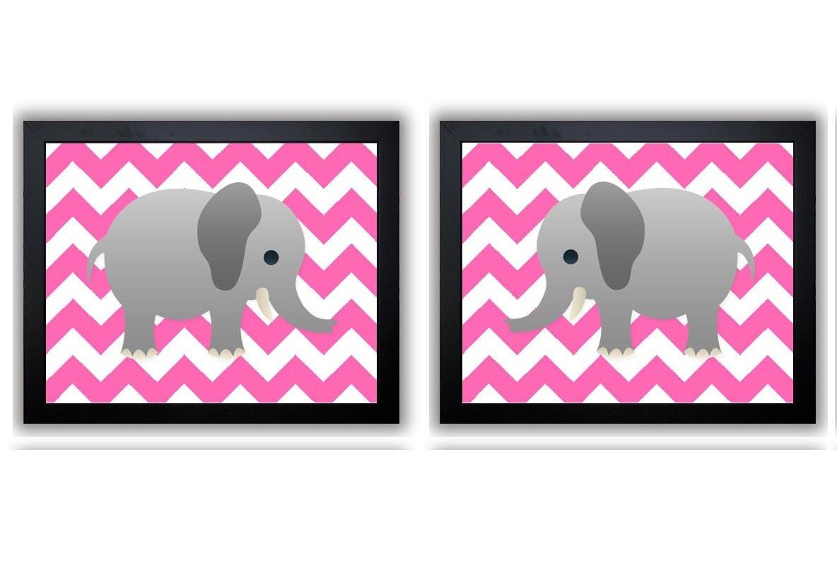 Hot Pink Chevron Grey Elephant Nursery Art Print Set of 2 Elephants Child Art Prints Girl Kids Room