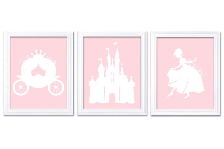 Light Pink White Princess Nursery Art Set of 3 Prints Child Art Kids Room Wall Art Baby Girl Decor B