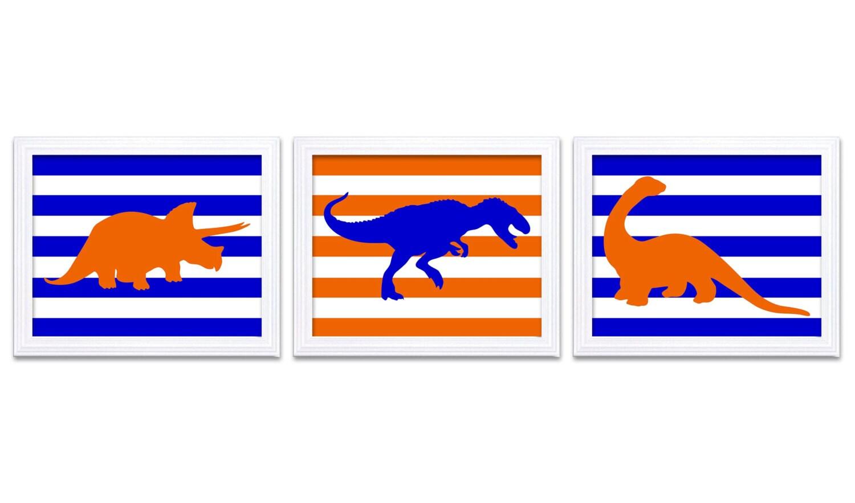 Dinosaur Nursery Art Dinosaurs Set of 3 Prints Royal Blue Orange Stripes Tyrannosaurus Rex Tricerato