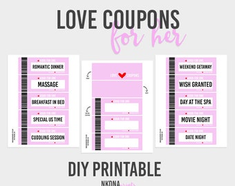 love coupons for him template - love coupons for boyfriend or husband valentines day