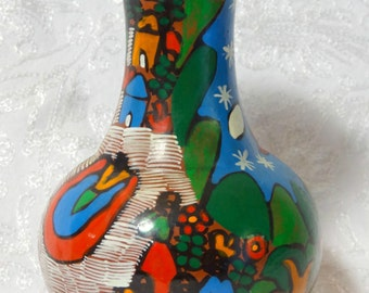 VASE SALE 15%Off Vintage Mexican Pottery Flower Plant Vase People Nightime Story Multi Color