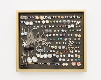 Gold Jewelry Tray - Gold Frame - Earring Organizer