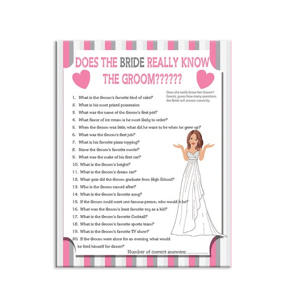 Printable Wedding Shower Game Does The Bride By Thevintagepen