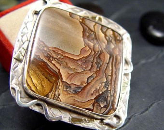 DESCHUTES  Jasper Picture Jasper STERLING Silver Pendant With 18k GOLD Accents One of A Kind Wearable Art Jewelry