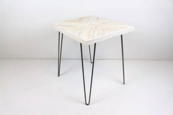 Reclaimed Wood Geometric Rustic White Washed Side Table/