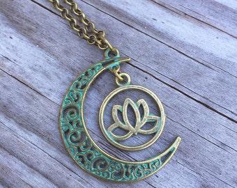Moon Lotus Necklace/ Lotus Necklace/ Moon Necklace/ Lotus Moon Patina Necklace/ Blue Patina Crescent Moon/ Lotus Necklace/ Yoga/ Moon Spirit