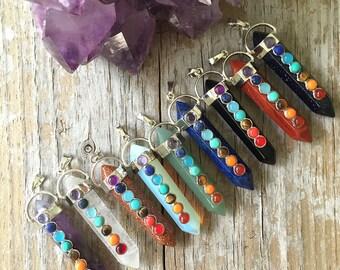Chakra Crystal Necklace / 7 Gemstone Chakra/ Quartz Point Pendant/Chakra Pendant/ Yoga Cord Necklace / Healing Crystal/Quartz Chain Necklace