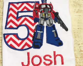 Personalized Transformer inspired Shirt - Transformer inspired Birthday Shirt - Optimus Prime inspired Shirt