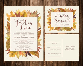 Fall in Love Wedding invitation Suite; Watercolor Leaves