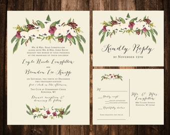 Warm Winter Bohemian Wedding Invitations; Printable OR set of 25