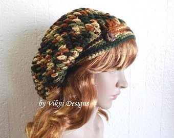 Slouchy Beanie, Woodsy Sylvestre Multicolor Slouch Beanie, Womens Knit Beanie, Winter Hat, Womens Crochet Hat by Vikni Designs