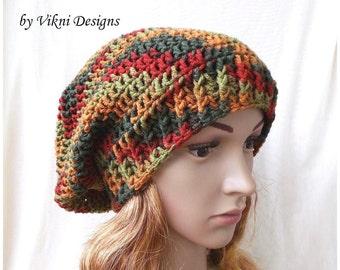 Crochet Slouchy Hat, Women Winter Crochet Hat, Crochet Slouchy Knit Beanie by Vikni Designs