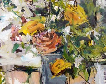 Original Still Life Painting With Flowers, 22 x 18 Inches, Floral Art, Mixed Media Artwork