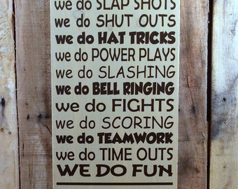 In This Home We Do Faceoffs Hockey Wooden Board Sign Awesome Family Hockey Theme Sign - Your Choice Of Colors