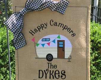 Custom Monogrammed Camping Trailer Burlap Garden Flag Personalized with Name