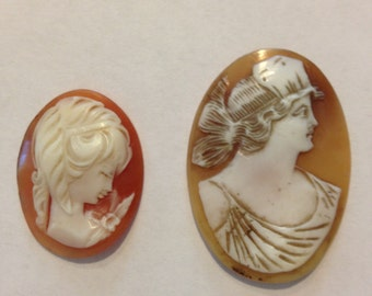 2 Antique carved shell, unmounted cameos