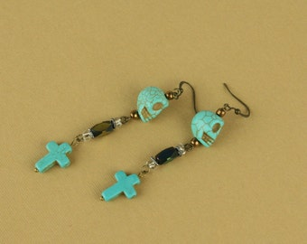 Skull Turquoise Antique Dangle Earrings with Turquoise Cross #1017