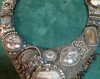 SOLD. Bead embroidery necklace