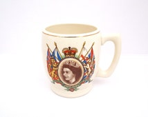 1953 Coronation Mug, Biltons Pottery, Vintage Mug, Queen Elizabeth II Mug, Commemorative Mug, Coronation Souvenir, Royal Mug, Old China Mug