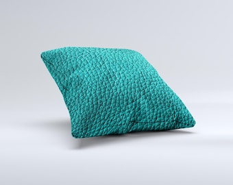 The Dark Teal Leather ink-Fuzed Decorative Throw Pillow