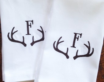 Monogram Hand Towel with Embroidered Antlers / Wedding Gift / Monogram Gift / Fathers Day Gift
