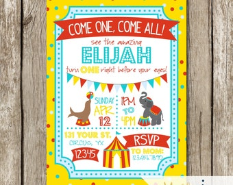 Red, Yellow, Turquoise Circus Birthday Invitation - Circus Themed Party - Circus Birthday Party Invitation - Bright Colors Circus Invite