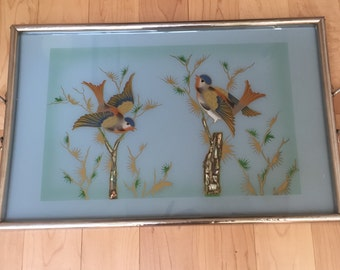 Oriental Art Deco Back Painted Glass and Chrome Serving Tray with MOP Accents