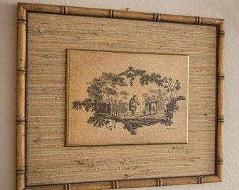 Jean-Baptiste Pillement Print, Bamboo frame, print of 1700's artist Pillement