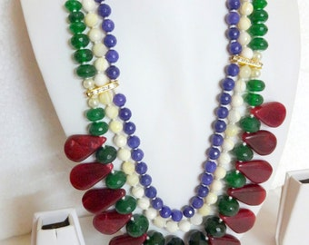 NEW !! Statement Necklaces : Semi precious beads, ropada stone beads - Multi-Layered necklace