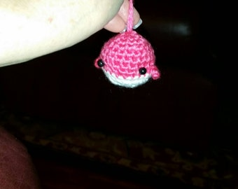 Little crocheted whale, amigurumi whale key chain, pink and white whale, Plushed whale.