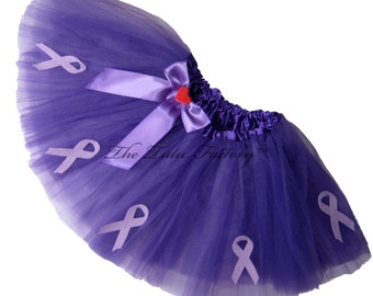 ALZHEIMERS AWARENESS Tutu . Little Girls to Adult Plus Sizes . Short Length 11in . Purple Tutu or Lavender Tutu