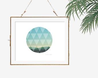 Minimalist wall art circle photography print white blue wall decor living room artwork triangle pattern mountain range teal wall photo 12x12