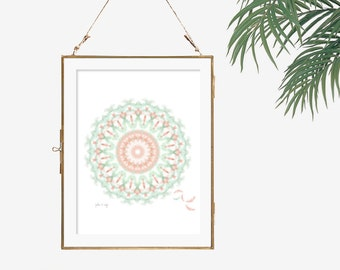 Geometric art feather print hippie boho wall art bohemian style art mint green decor coral peach poster white bedroom decor living room art