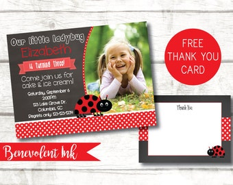 Ladybug Invitation - Ladybug Birthday Invitation - Ladybug Birthday Party - Printable Birthday Party Invite - Girls Birthday Invitations -