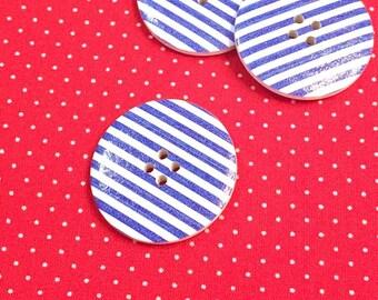 """Wooden button big """"Strip"""" blue"""